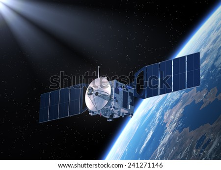 Satellite. 3D Scene. - stock photo