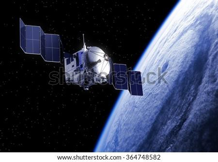 Satellite Deploys Solar Panels In Space. 3D Scene. - stock photo