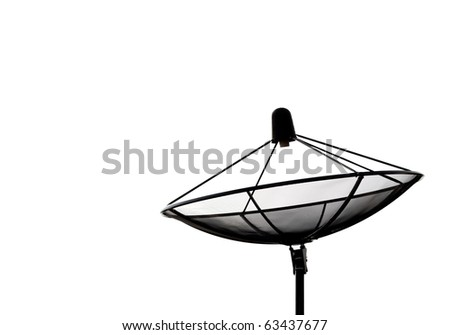 satellite dish and clear white sky - stock photo