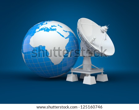 Satellite dish and earth on blue background. 3d