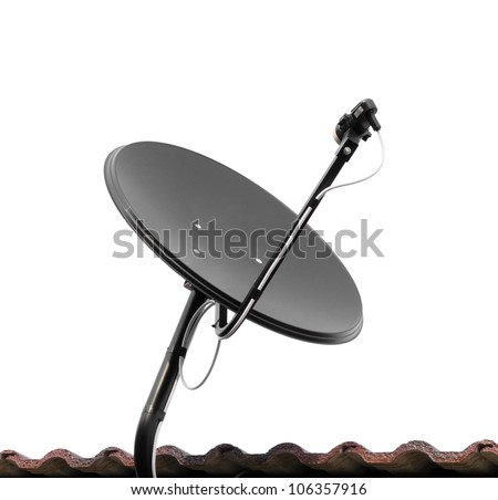 Satellite dish and roof on white background