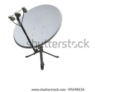 satellite dish antenna isolated on white background - stock photo