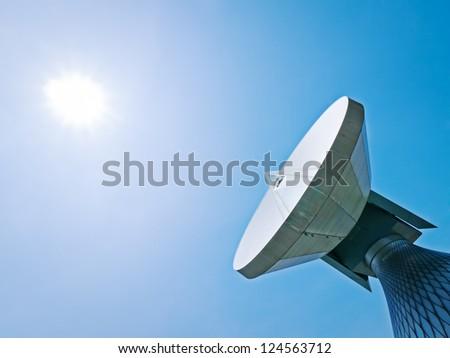satellite dish at a meadow near munich - germany - stock photo