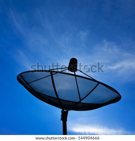 Satellite dish for communication. Network technology. - stock photo