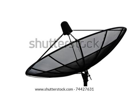 Satellite dish isolate on the white. - stock photo