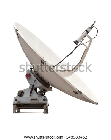 satellite dish of mobile phone isolated white - stock photo