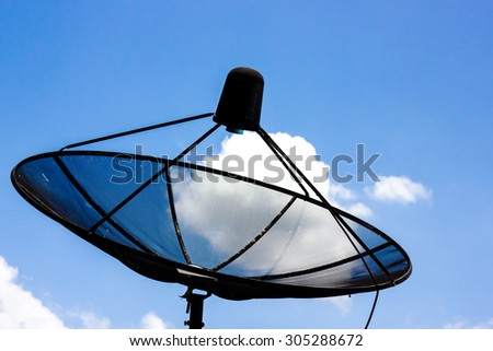 satellite dish on blue sky backgroud