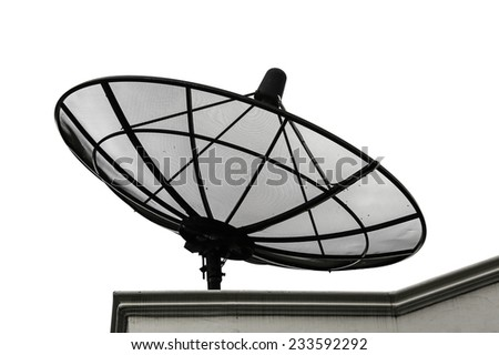 satellite dish on roof white background