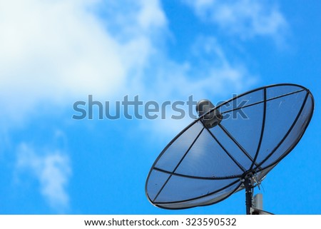Satellite dish on roof with blue sky and some cloud.