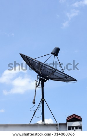 Satellite dish on top of building
