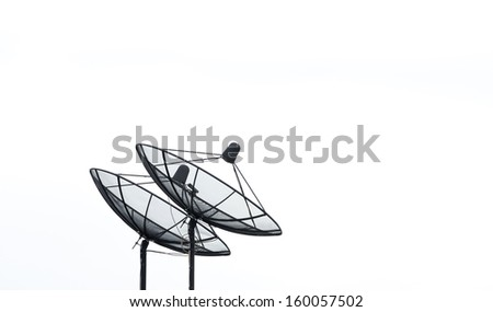 Satellite dish on white background for communication