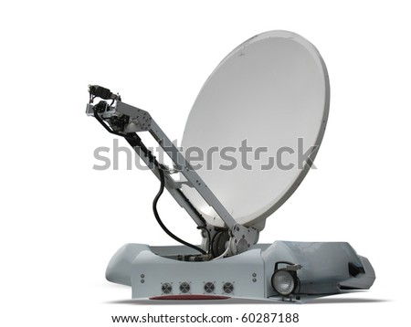 satellite dish parabolic antenna isolated on white background - stock photo