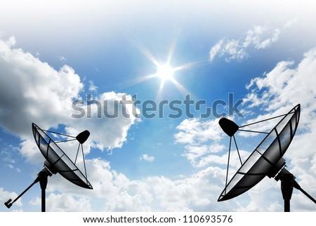 Satellite dish sky sun blue sky communication technology network image background for design - stock photo
