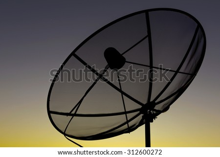 Satellite dish sky sunset communication technology network on nature background .