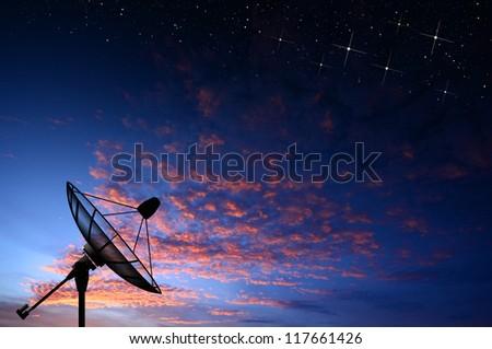 satellite dish star sunset background for design - stock photo