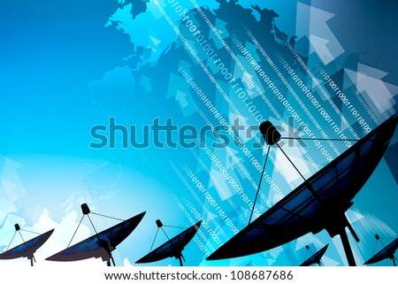 Satellite dish transmission data - stock photo