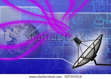 Satellite dish transmission data earth background : Elements of this image furnished by NASA - stock photo
