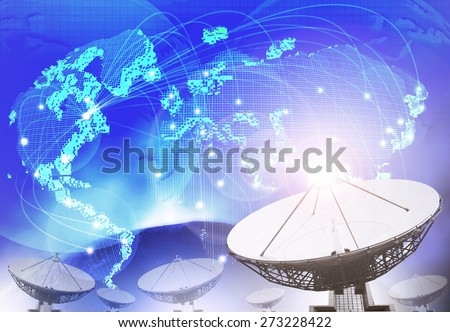 satellite dish with blue theme of world connecting technology use as multipurpose background,backdrop - stock photo