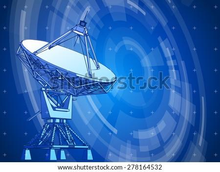 satellite dishes antenna - doppler radar & blue radial technology background - stock photo