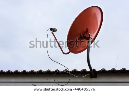 Satellite dishes communication technology network at countryside - stock photo