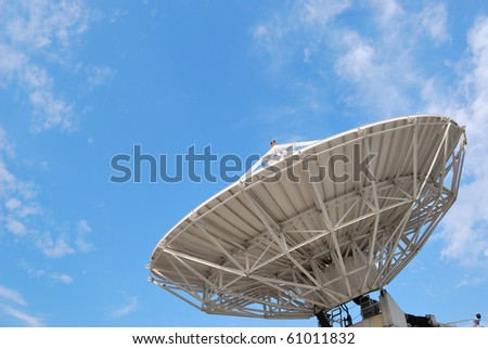 Satellite dishes on buildings. - stock photo