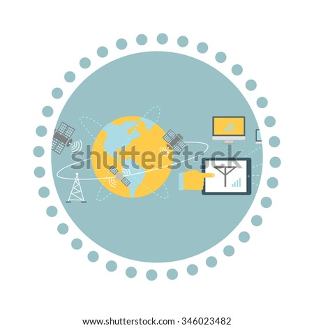 Satellite global network provider icon flat. Internet communication, computer technology, information digital, signal and connection station, web wireless space illustration. Raster version - stock photo