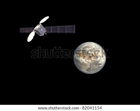 satellite in orbit around planet earth isolated on white background - stock photo
