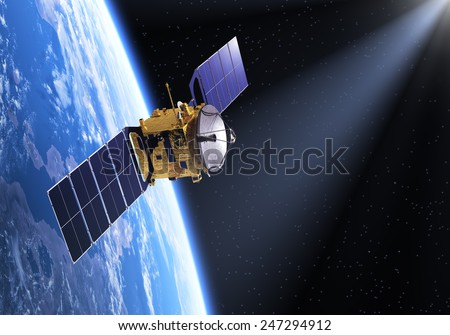 Satellite In The Ray Of Light. 3D Scene. Elements of this image furnished by NASA.  - stock photo