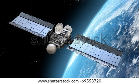 satellite is orbiting the Earth - stock photo