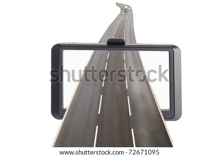 Satellite navigation concept with road against white - stock photo