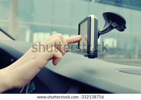 Satellite navigation system in the car - stock photo