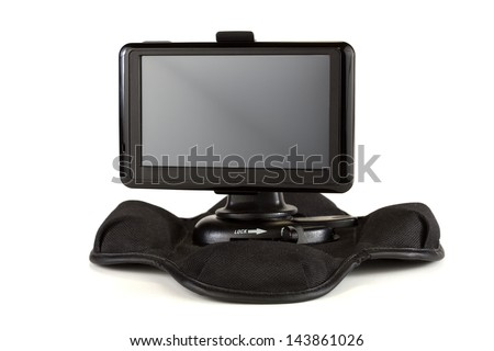 Satellite navigation system isolated on a white background - stock photo
