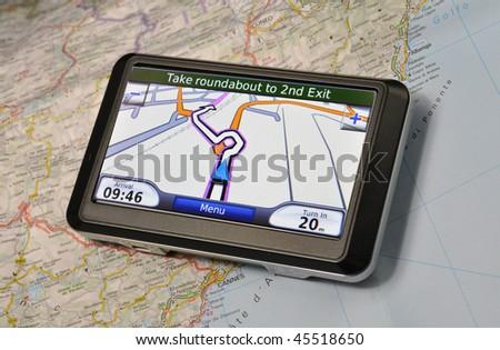 Satellite Navigation System on a map - stock photo