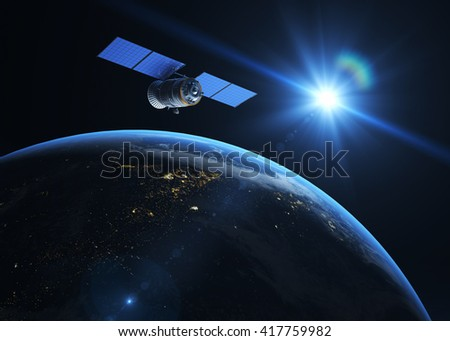 Satellite  on the orbit. 3D illustration - stock photo