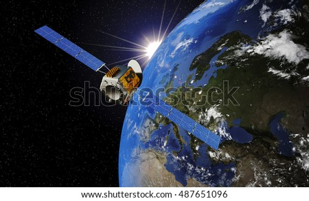 Satellite Orbiting Earth. 3D illustration