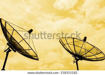 Satellite receive communication color tone technique by program - stock photo