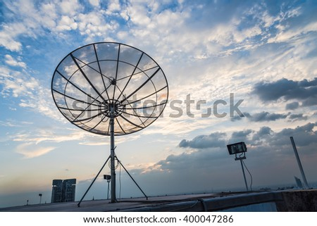 Satellite secret sky after the Sun. - stock photo