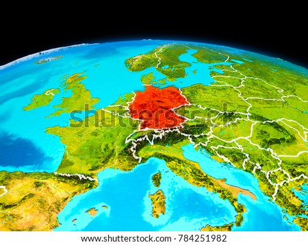 Satellite View Germany Highlighted Red On Stock Illustration