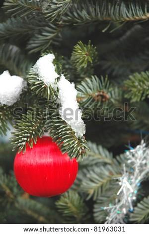 Satin ball Christmas ornament hanging on a tree - stock photo