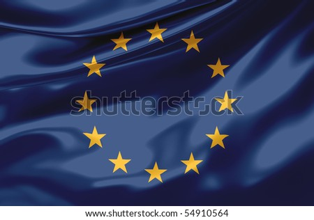 Satin Europa flag - stock photo