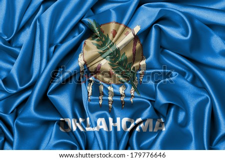 Satin flag, three dimensional render, flag of Oklahoma - stock photo