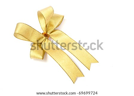 satin gold fabric ribbon bow isolated on white background