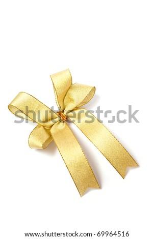 satin gold fabric ribbon bow isolated on white background - stock photo
