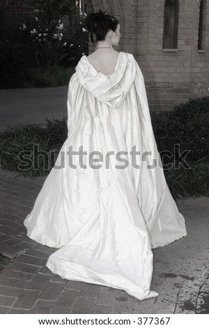 Satin silk embroidered wedding dress cloak