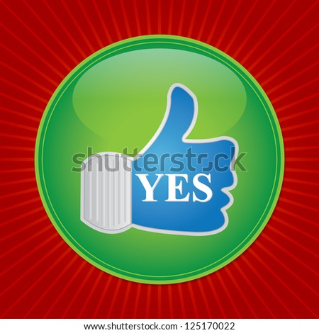 Satisfaction Concept Present By Thumb Up Icon in Red Shiny Background - stock photo