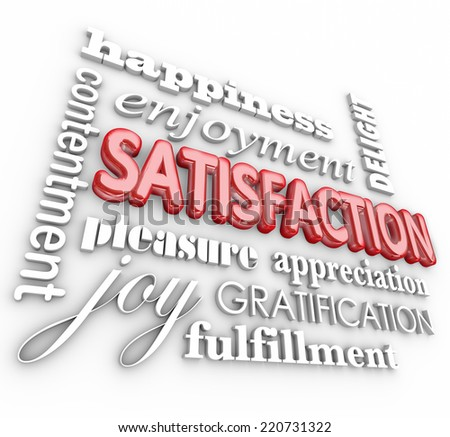 Satisfaction 3d words in a collage background with happiness, enjoyment, delight, contentment, pleasure, appreciation, gratification and fulfillment - stock photo