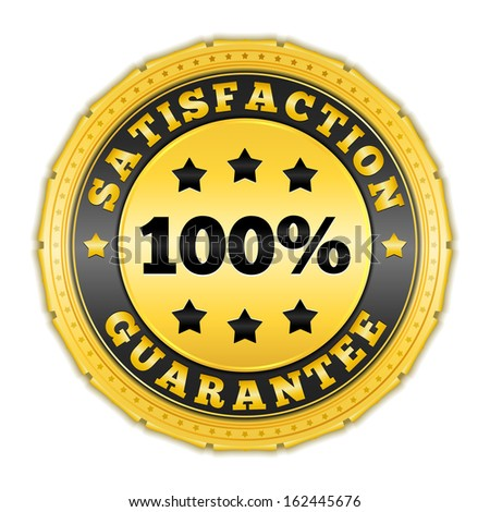 Satisfaction guarantee golden badge - stock photo