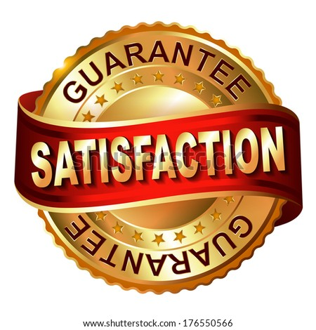 Satisfaction guarantee golden  label with ribbon.  - stock photo