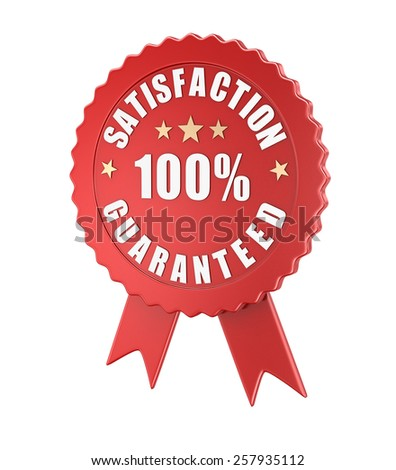 Satisfaction guaranteed , computer generated image. 3d rendered image. - stock photo