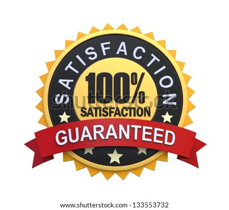 Satisfaction Guaranteed Label with Gold Badge Sign - stock photo